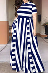 Wearvip Party O-neck Striped Print Maxi Dress