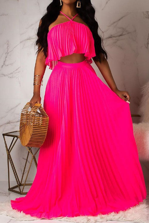 Wearvip Bohemian Halter Solid Color Pleated Skirt Sets