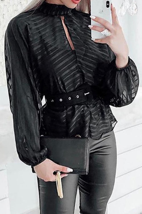 Wearvip Casual V-neck See-through Chiffon Blouse