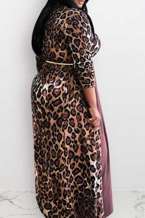 Wearvip Casual Leopard Print Long Coat
