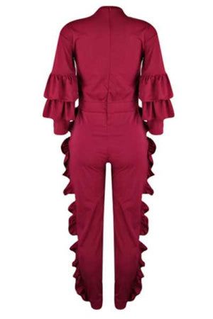 Wearvip Casual Flounce Trim Back Zip Up Jumpsuit