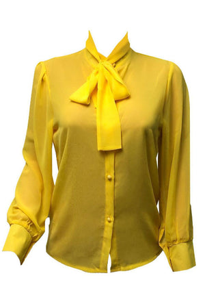 Wearvip Casual Mandarin Sleeve Chiffon Shirt