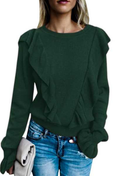 Wearvip Casual Flounce Trim Flare Sleeve Sweater