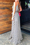Wearvip Casual V-neck Spaghetti Strap Polka Dot Split Maxi Dress