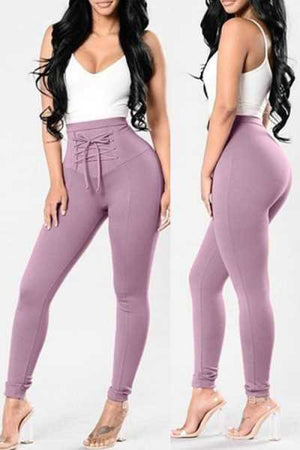 Wearvip Sporty High Rise Lace Up Pencil Pants