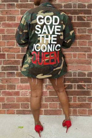 Wearvip Casual Letters Camouflage Print Coat