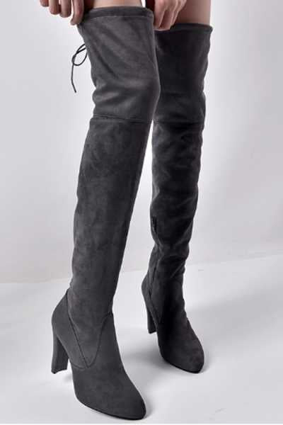 Wearvip Casual Pointed Toe Thick Heel Side Zipper Over The Knee Stretch Boots