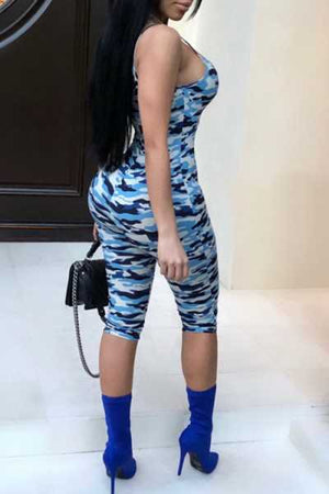 Wearvip Casual Spaghetti Strap Bodycon Camouflage Print Jumpsuit
