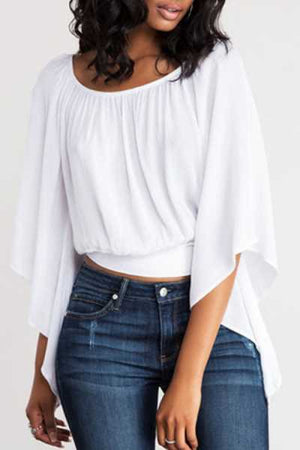 Wearvip Casual Backless Lace Up Batwing Sleeve Blouse
