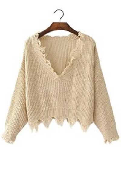 Wearvip Casual Solid Color V-neck Loose Sweater