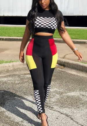 Women Plaid Casual Sports Two Piece Set