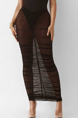 Wearvip Casual See-through Tissue Bodycon Skirt(no underwear)
