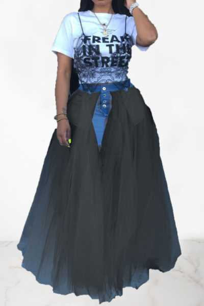 Wearvip Casual Denim Patchwork Long Tissue Skirt