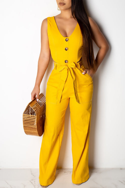 Wearvip Casual Button Trim Wide Leg Jumpsuit (With Belt)