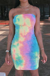 Wearvip Casual Strapless Tie Dye Print Mini Dress