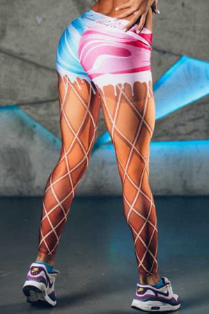 Wearvip Sporty Colorful Rhombic Print Leggings