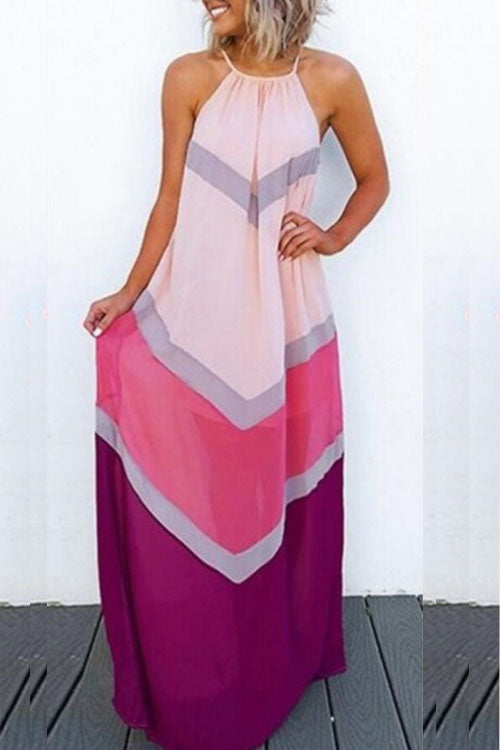 Wearvip Casual Round Neck Striped Print Halter Maxi Dress