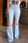 Wearvip Casual Broken Holes Flared Jeans