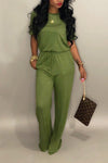 Wearvip Casual Short Sleeve Wide Leg Jumpsuit