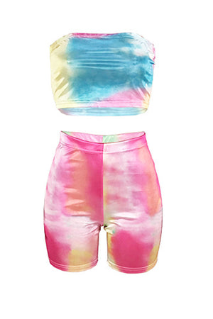 Wearvip Casual Gradient Print High Waist Shorts Sets