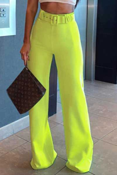 Wearvip OL Solid Color Mid Rise Wide Leg Pants(with belt)