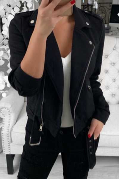 Wearvip Casual Turndown Collar Zipper Short Jacket