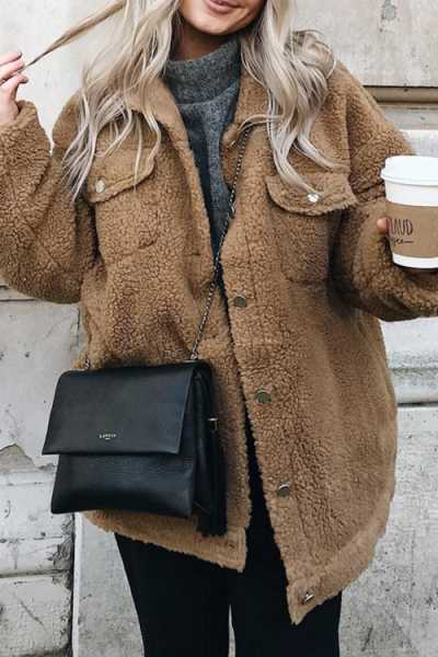 Wearvip Casual Button Up Shearling Shaggy Coat