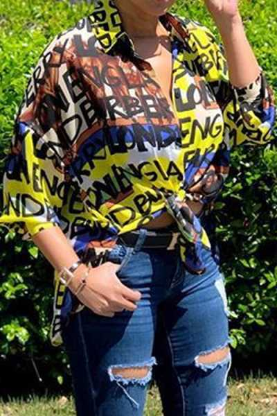 Wearvip Casual Half Sleeve Letters Print Shirt