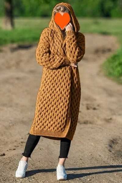 Wearvip Casual Long Knit Sweater Hooded Thick Coat
