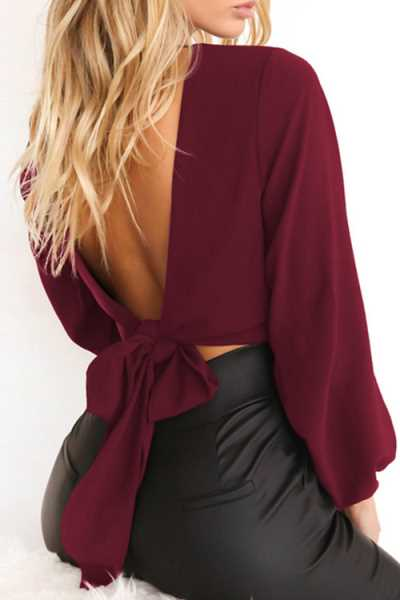 Wearvip Casual Solid Color V-neck Long Sleeve Tie Design Backless Shirt