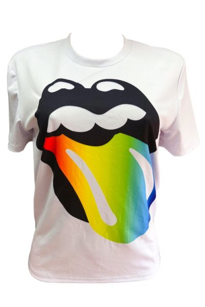 Wearvip Casual Cute Colorful Lip Print Round Neck T-shirt