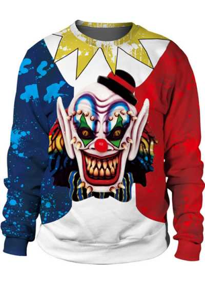 Wearvip Casual Halloween Round Neck Cute Print Hoodies