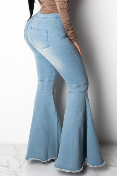 Wearvip Casual Wide Leg High Rise Elastic Flare Jean Pants