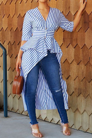 Wearvip Casual Striped Print Asymmetrical Hem Blouse