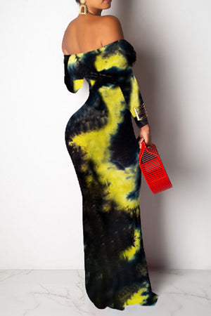 Wearvip Bohemian Strapless Long Sleeve Tie Dye Print Maxi Dress