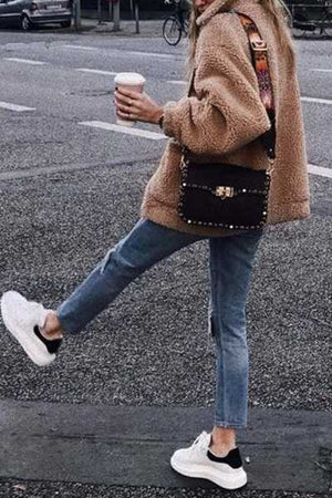 Wearvip Casual Zip Up Faux Shearling Shaggy Oversized Coat