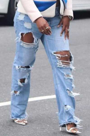 Wearvip Casual High Rise High Elastic Broken Holes Jeans