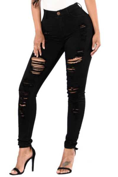 Wearvip Casual Broken Holes Pencil Jeans