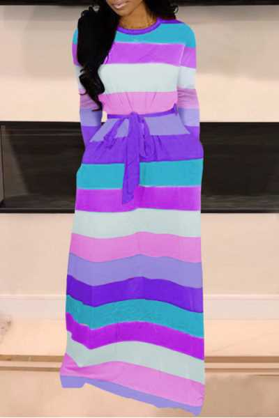 Wearvip Casual Long Sleeve Striped Print Maxi Dress (With Pocket)