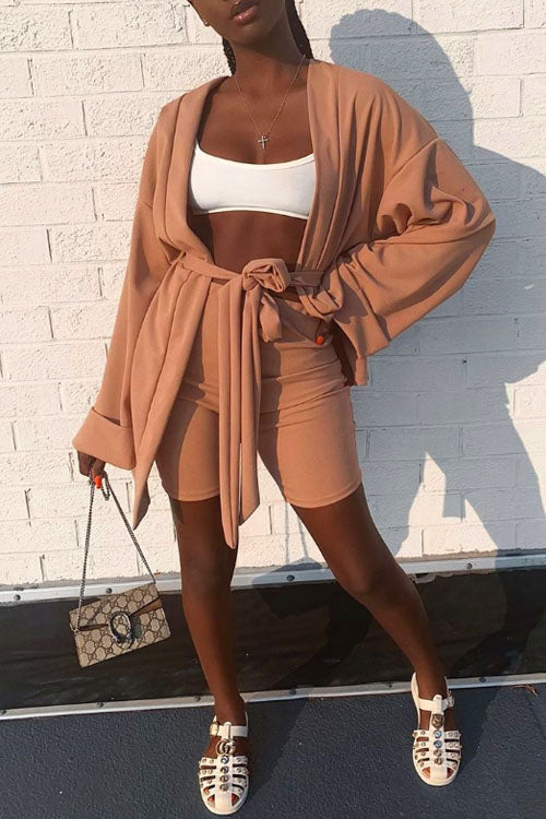Wearvip Casual Solid Color Long Sleeve Shorts Sets(With Belt)