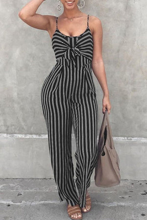 Wearvip Casual Striped Print Wide Leg Jumpsuit