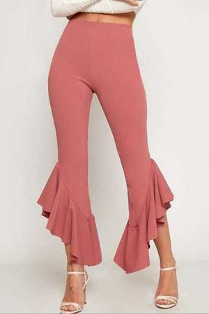 Wearvip Casual Mid Rise Flounce Trim Pants