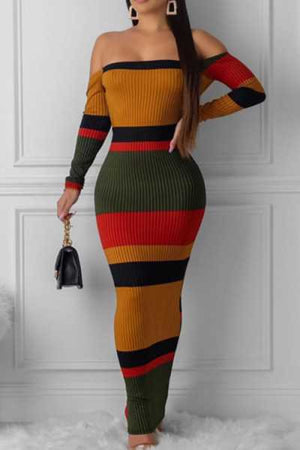 Wearvip Casual Off Shouldder Long Sleeve Backless Color Patchwork Maxi Dress