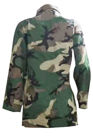 Wearvip Casual Lip Sequined Camouflage Print Coat