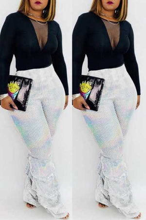 Wearvip Casual High Rise Silver Pants