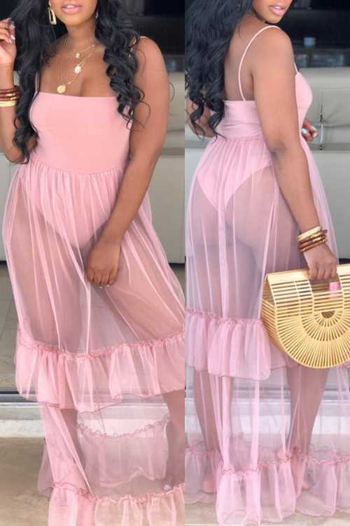 Wearvip Bohemian Mesh See-through Flounce Trim Maxi Dress