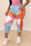 Wearvip Sporty Color Patchwork Jogger Pants(NO Spandex)