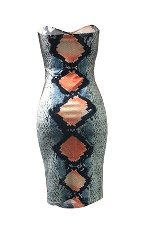 Wearvip Party Animal Print Bodycon Midi Dress