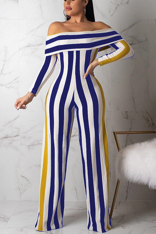 Wearvip OL Strapless Long Sleeve Striped Print Jumpsuit