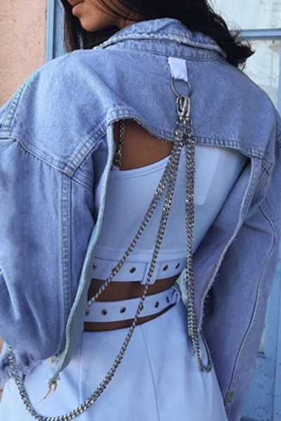 Wearvip Casual Chain Design Backless Jean Coat